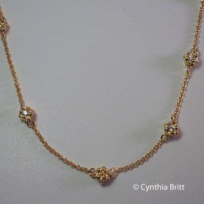 Britt Flower Gold Beads and Diamond Necklace