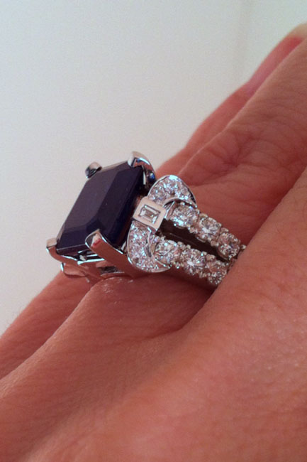 Close-up side view of Nina's Engaement Ring