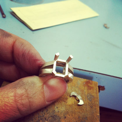 Nina's engagement ring before soldering the sides