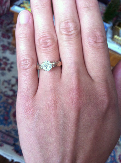 Nature Inspired Custom Engagement Ring on Hand