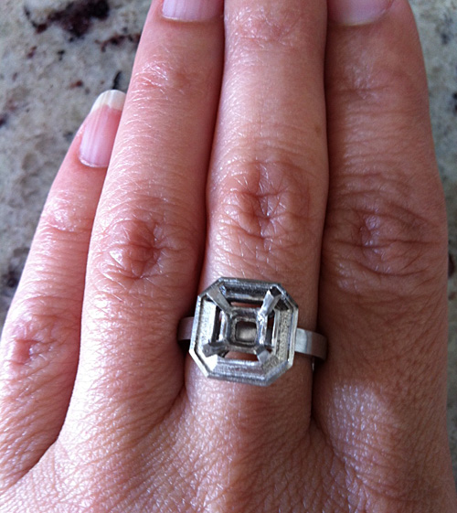 Asscher Cut Diamond With Emerald Halo Engagement Ring