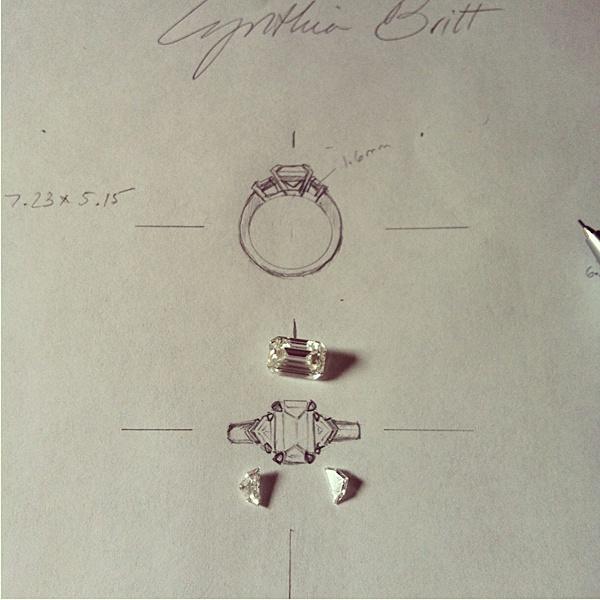 Custom Designing Emerald Cut Diamond Engagement Ring