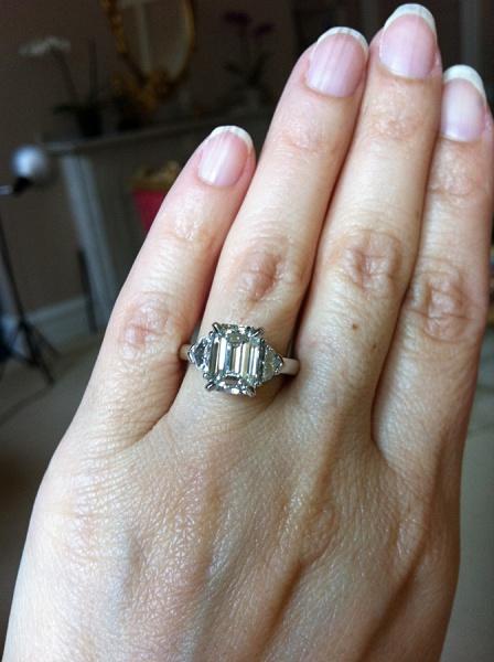 Custom Made Emerald Cut Diamond Engagement Ring
