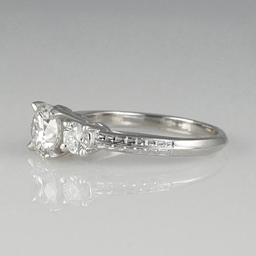 Lori Custom Made Engagement Ring Showing Engraving