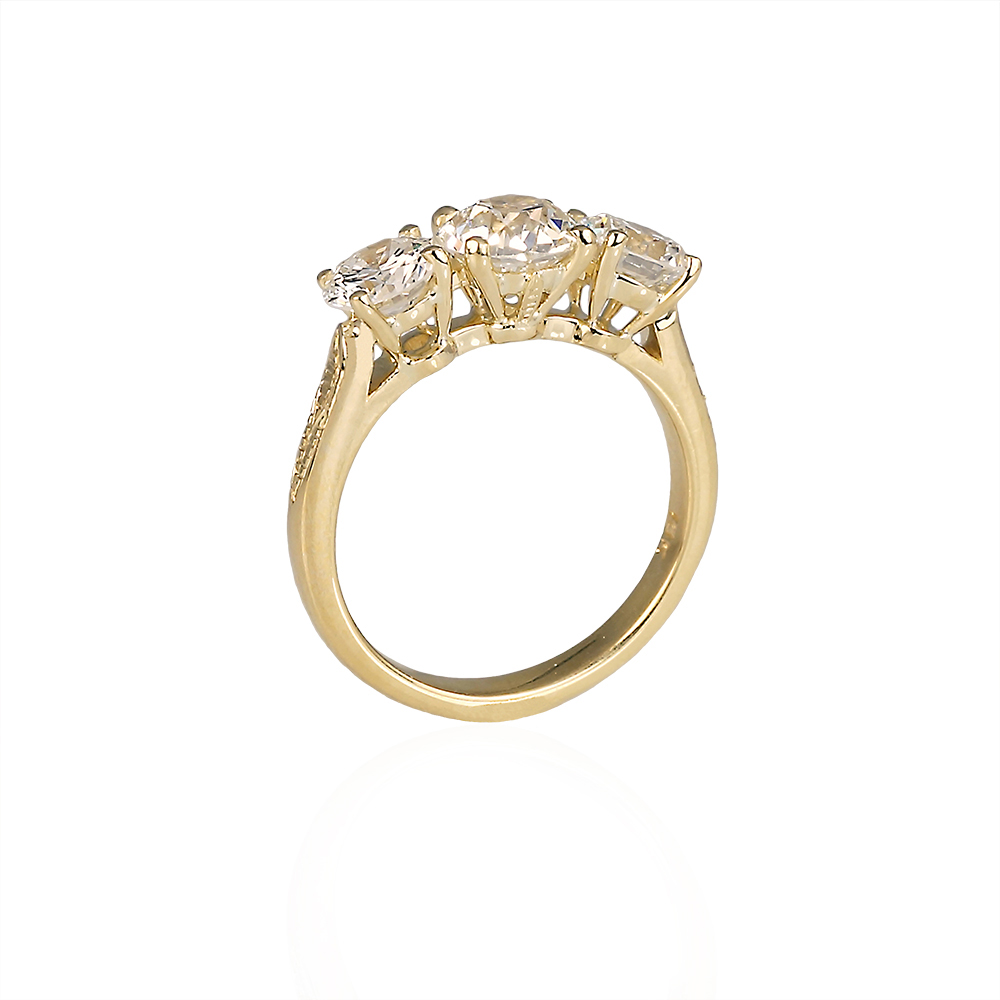Caroline Engagement Ring Re-Designed from Two Heirloom Rings Side View
