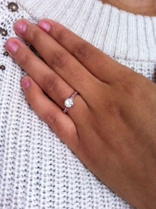 Madeligne's beautiful hand wearing her custom made surprise engagement ring