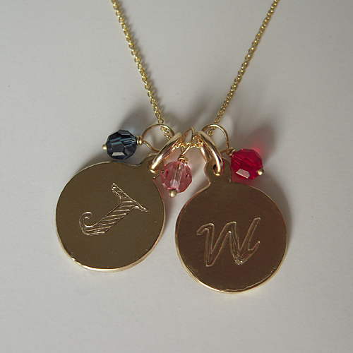14k Yellow Gold 3/4″ Disc Charms With Birthstone and Chain