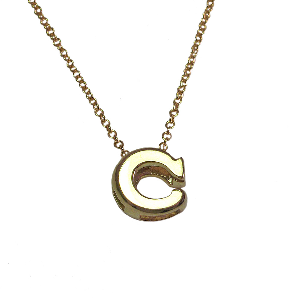 18K Yellow Gold Initial Pendant
