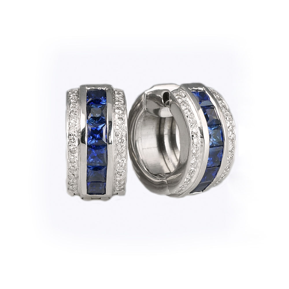 Sapphires and Diamonds Hinged Hoops to Match the Ring