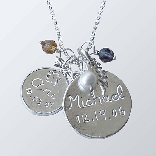 Sterling Silver 7/8″ Disc Charm With Angel Wing And 3/8″ Disc Charm With Bow And Birthstones and Chain