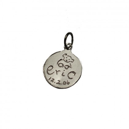 "Personalized Message Charms in Silver Size 3/8""-0"