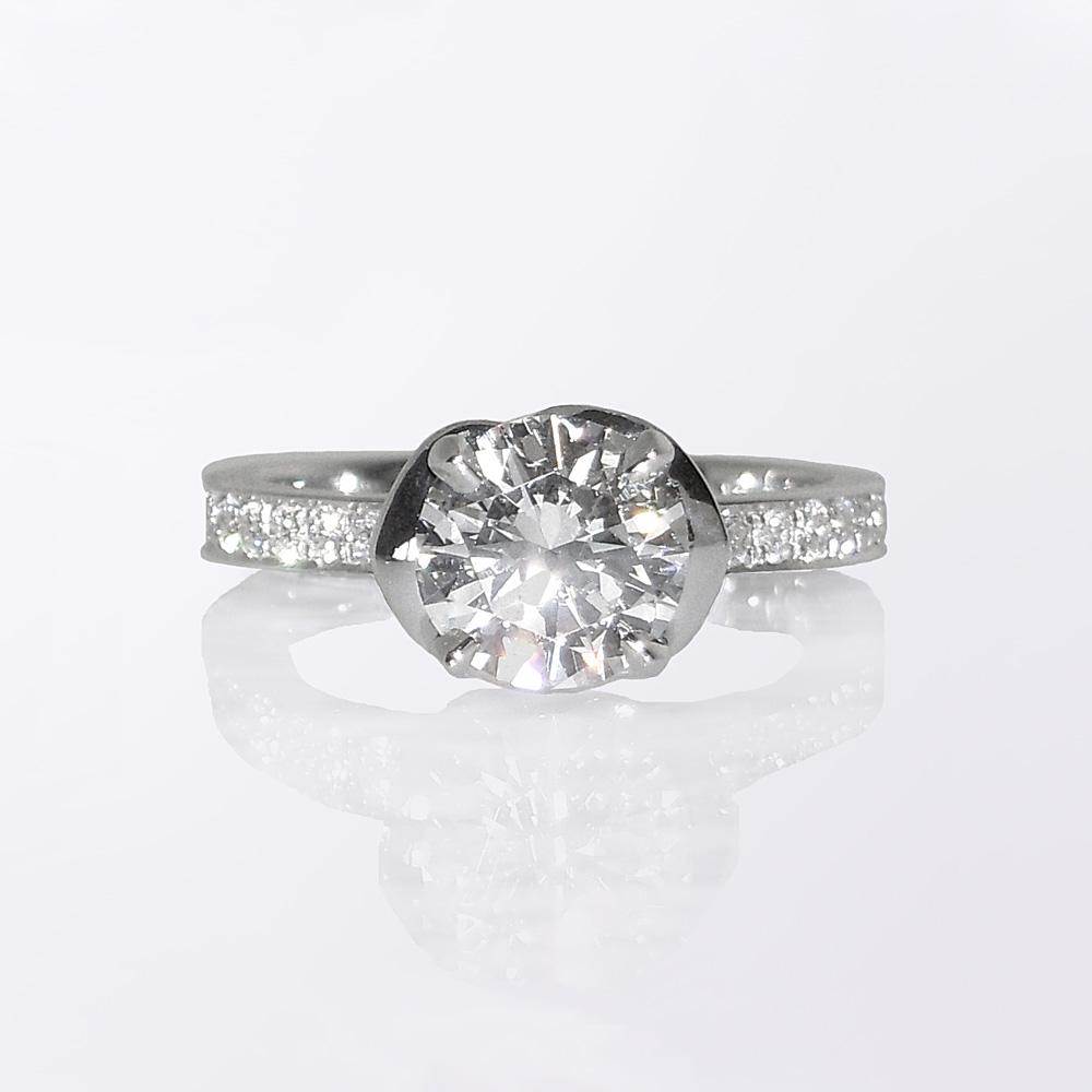 Sophia Flower Solitaire Custom Made Enagement Ring