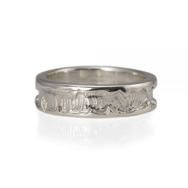 Andre Sterling Silver Wedding Band Top View