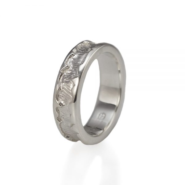 André Sterling Silver Wedding Ring Side View