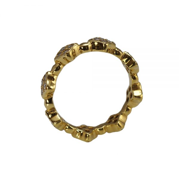 Clover Diamond Eternity Band in 18K Yellow Gold-1459