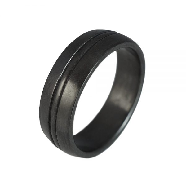 Cory Men's Oxidized Silver Wedding Ring-1464
