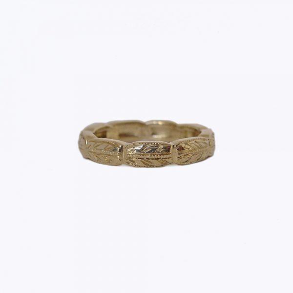 Nicki Custom Engraved Wedding Ring in 14k Yellow Gold
