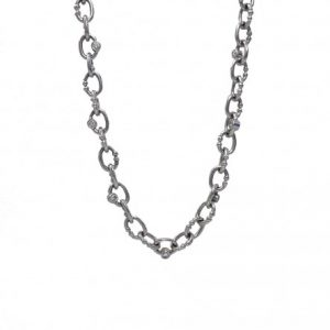 14K White Gold Custom Made Britt Chain with Diamonds