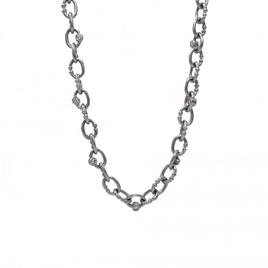 14K White Gold Custom Made Britt Chain with Diamonds-1372