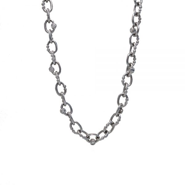 14K White Gold Custom Made Britt Chain with Diamonds