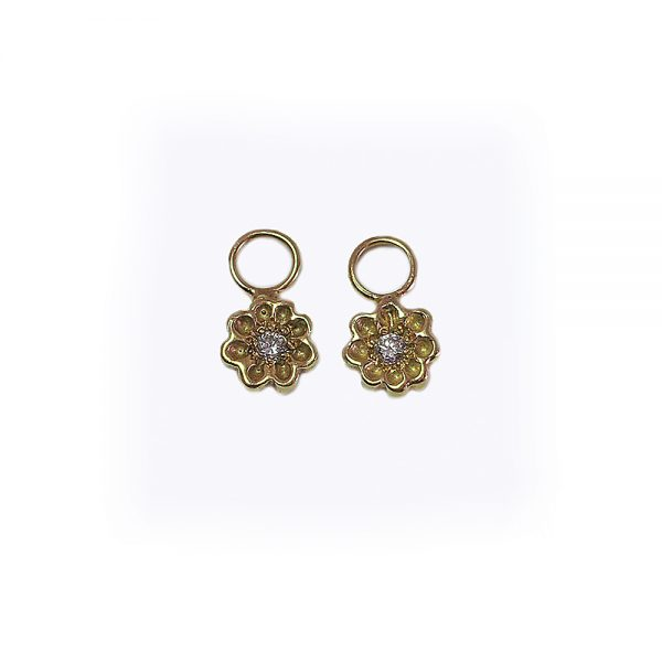18K Yellow Gold Britt Flower Dangles