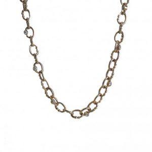 18K Yellow Gold Custom Made Britt Chain with Diamonds