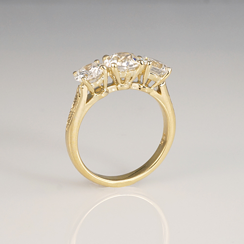 Yellow Gold Three Stone Engagement Ring