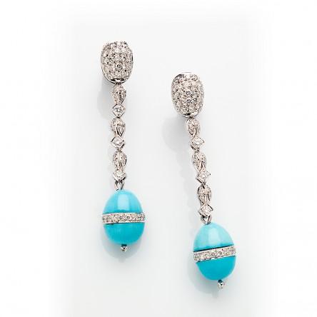 Custom Made Diamond and Turquoise Drop Earrings