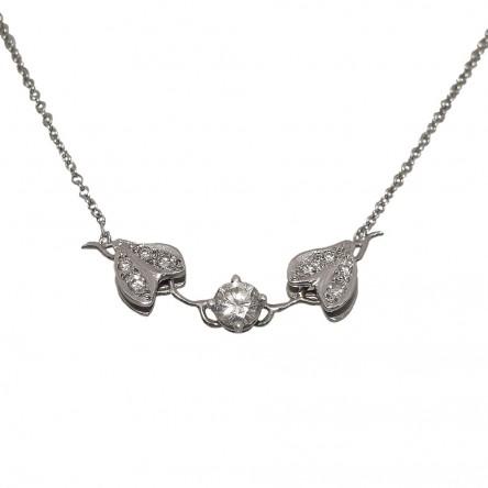 Diamond Vine Necklace in 14k White Gold
