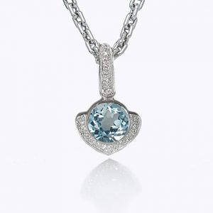 Big Kiss Swiss Blue Topaz Pendant