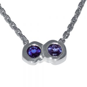 Britt Double kiss Silver and Iolite pendant