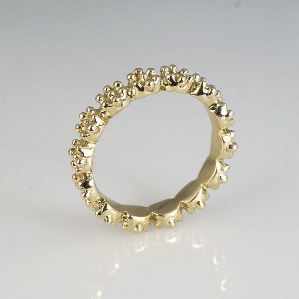 Britt Flower Bead Ring in Bronze Side View