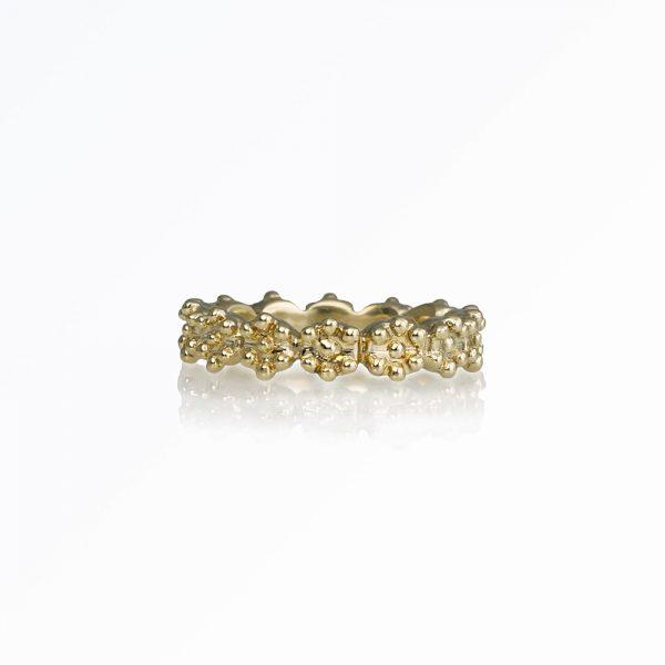 Britt Flower Bead Ring in Bronze