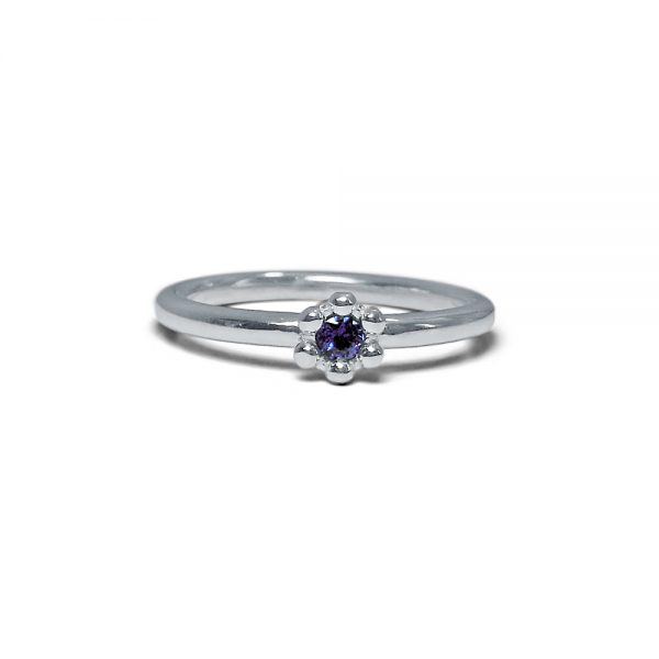 Britt Single Flower Blue Sap Ring Blue Sapphire Signature Flower Bead Ring