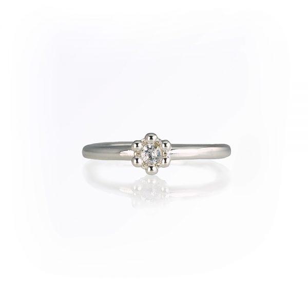 Britt White Sapphire Signature Flower Bead Ring