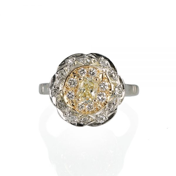 Crystal Fancy Yellow Two Tone Vintage Engagement Ring