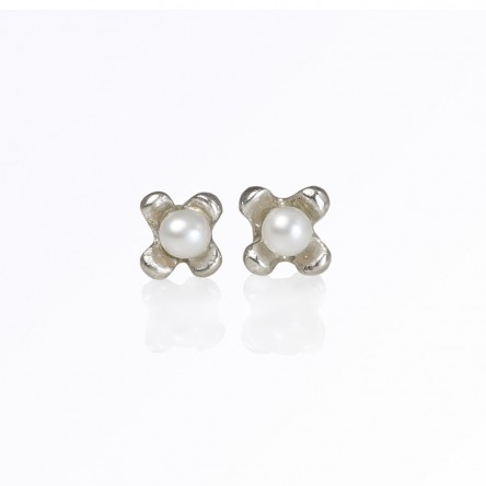 Custom Made Flower Studs with Pearl in Sterling Silver