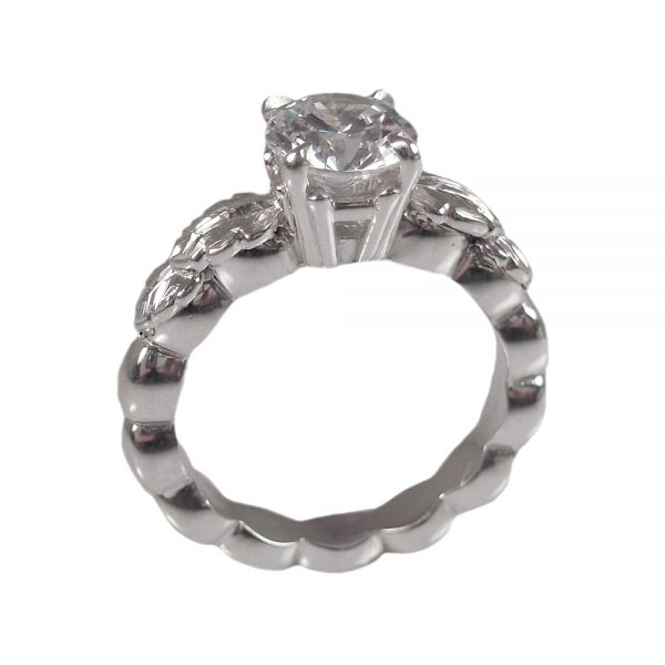 Double Leaf Solitaire Engagement Ring Cynthia Britt