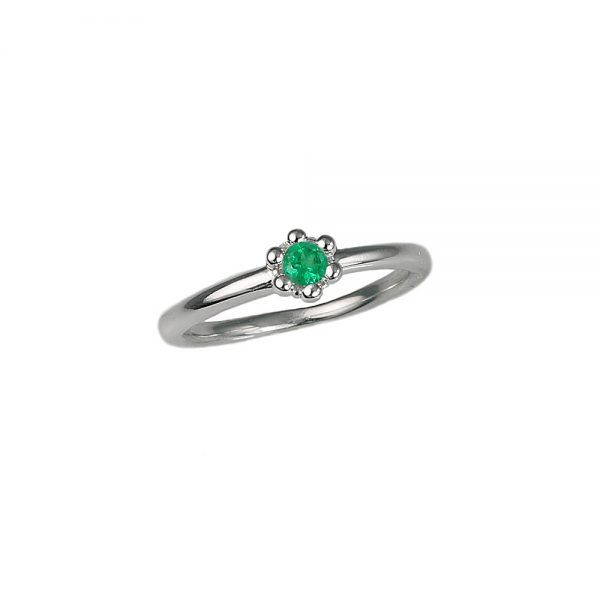Emerald Signature Flower Bead Ring Side View