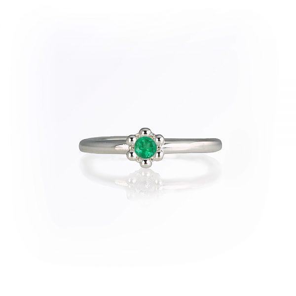 Emerald Signature Flower Bead Ring