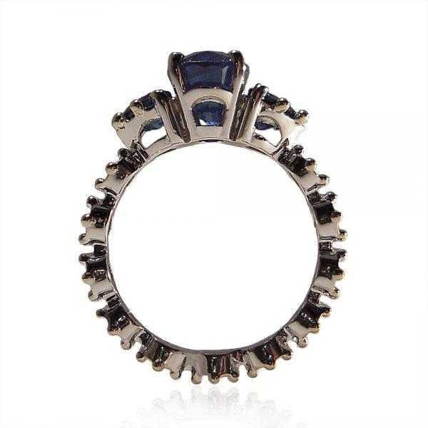 Genevieve Sapphire Flower Engagement Ring Custom Made