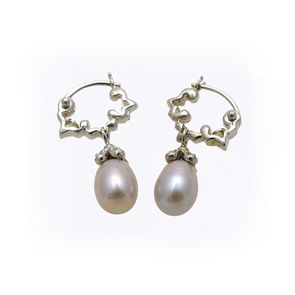 Hand Carved 14K White Gold Hoops with Pearl Dangles