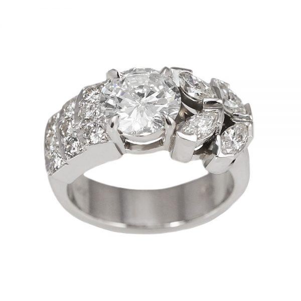 Jenn Va Va Voom Diamond Engagement Ring Side View