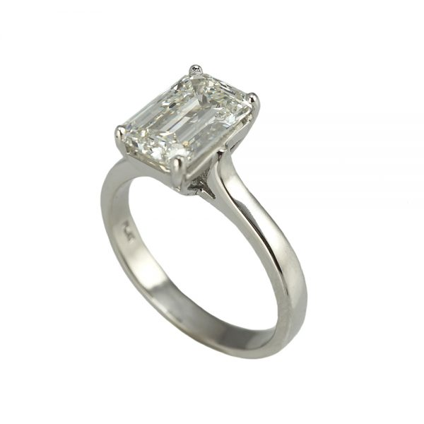 Kim Emerald Cut Diamond Solitaire engagement ring