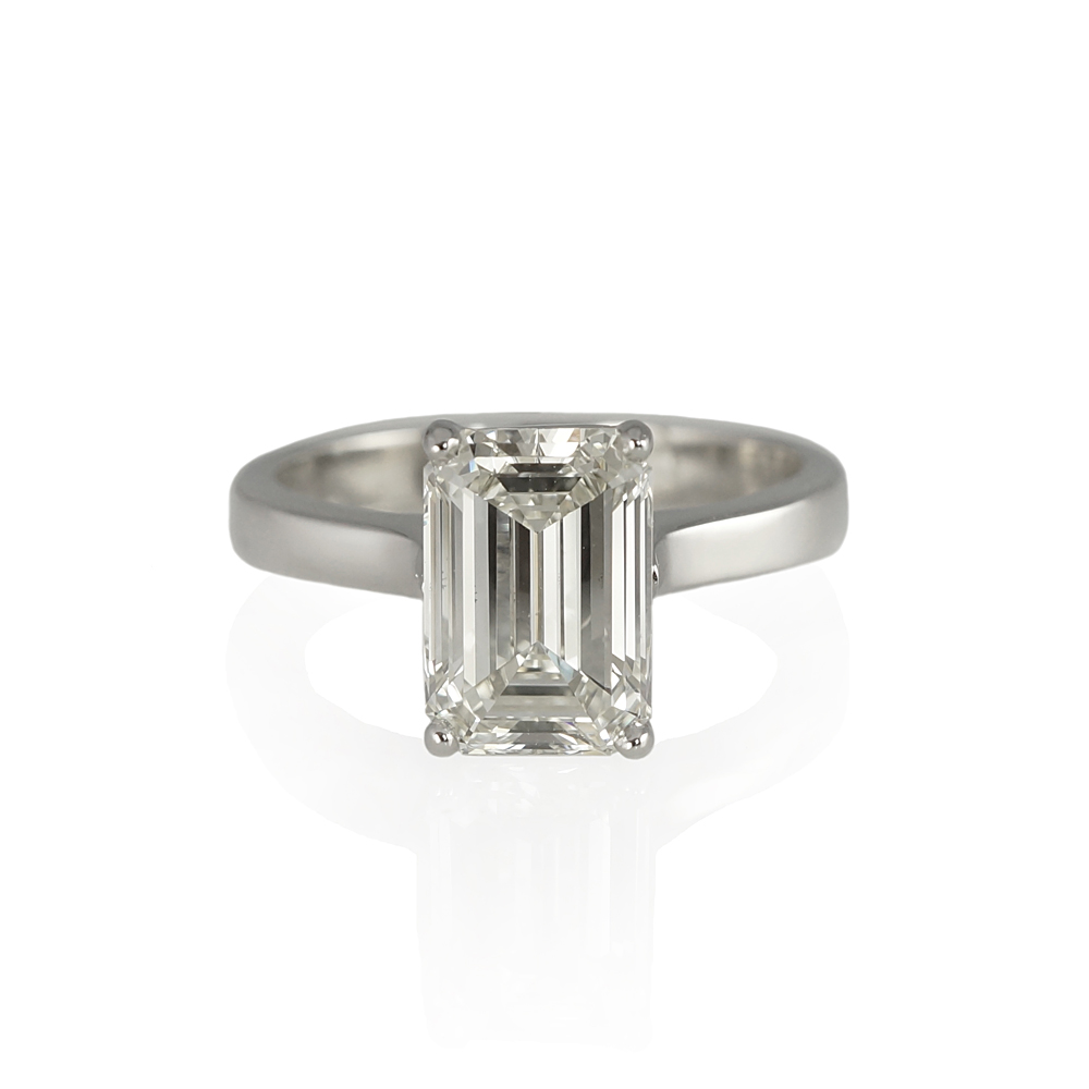natural square emerald carat solitaire platinum ring