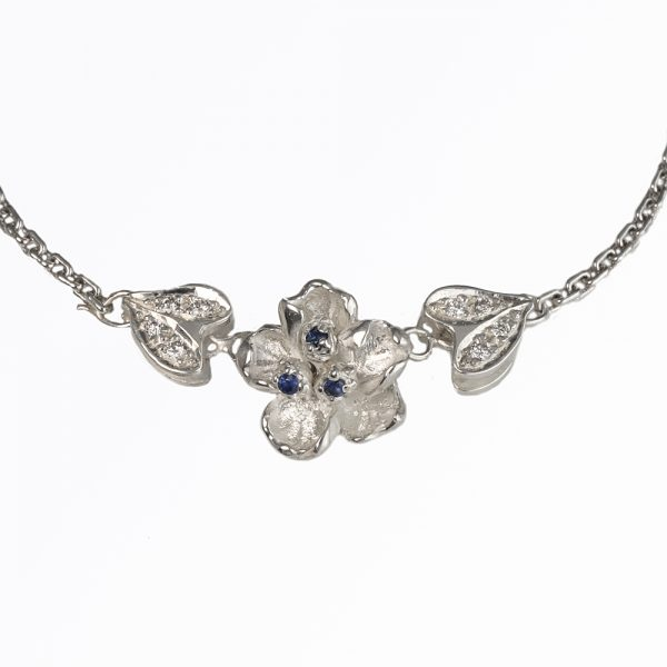 Laura Diamond and Sapphire Flower Necklace