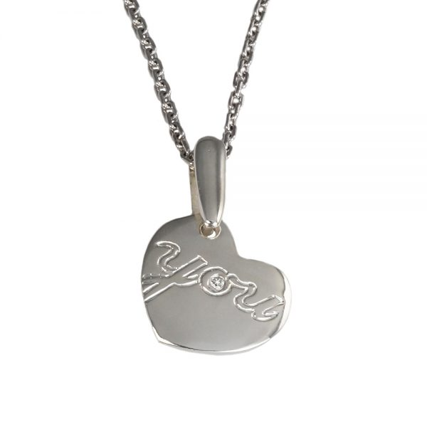 Love You Small Sterling Silver and Diamond pendant