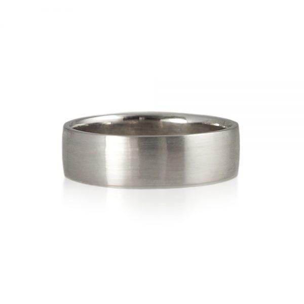 Wylie White Gold Sandblast Wedding Ring-0