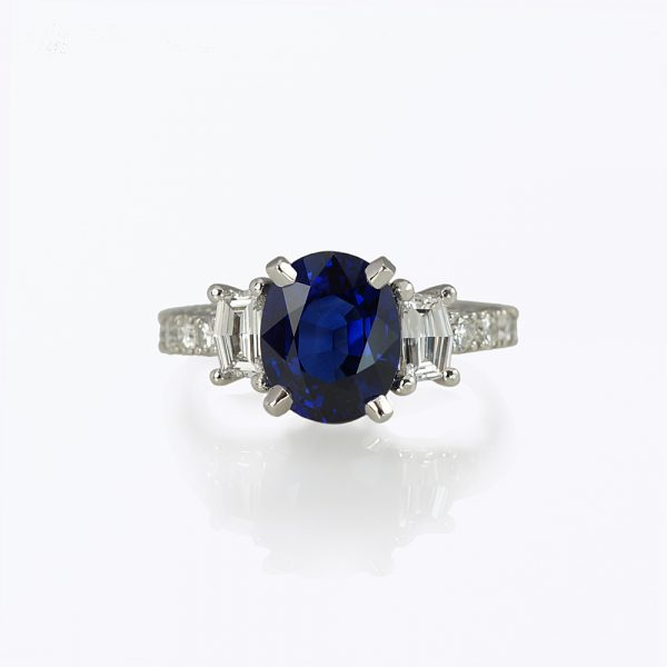 Nicole Sapphire and Diamond Engagement Ring Customized
