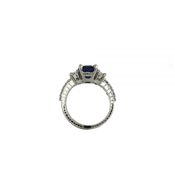Nicole Sapphire and Diamond Engagement Ring Side View